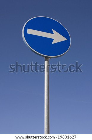 Traffic road sign isolated on a blue sky