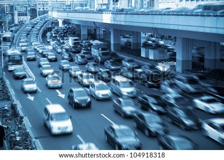 traffic rush hour  in shanghai,China