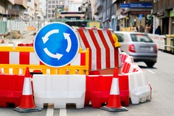 traffic safety roadwork signs and lights on road construction site in city street