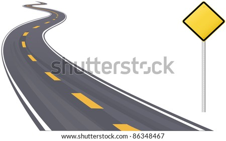 Traffic sign as information copy space on curving highway to the horizon - stock photo