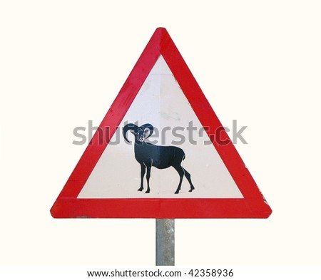 traffic sign at Cyprus - Attention Mouflons!