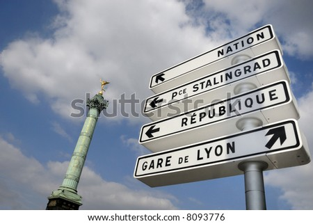 Traffic sign at the Bastille column in Paris
