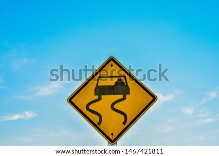 traffic sign becareful of slippery road traffic sign becareful of slippery road from Thailand country