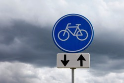 Traffic sign for a two way bicycle lane. In the Netherlands are a lot of these cycle paths.