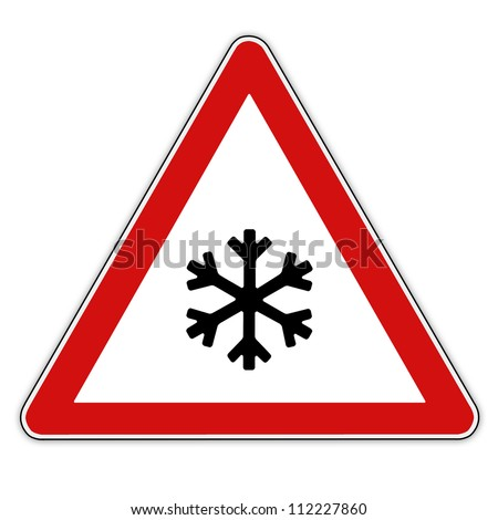 traffic sign for attention snow