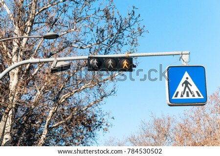 Traffic sign for pedestrians on the metal pole with electric signaling above the crosswalk and silhouette symbol of man crossing road on the board #784530502