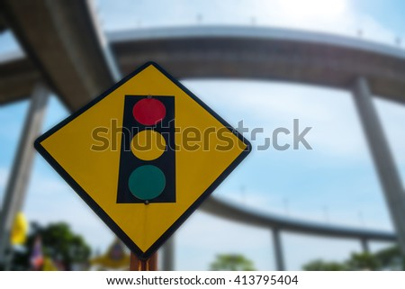 Traffic sign in Thailand #413795404