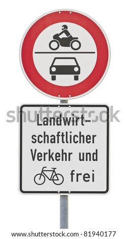 traffic sign: no drive through, isolated on white with clipping path