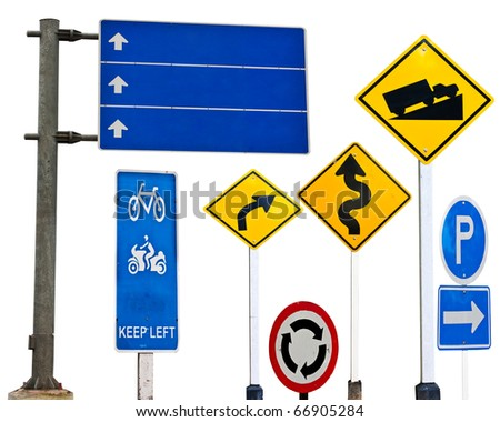 traffic sign over white background