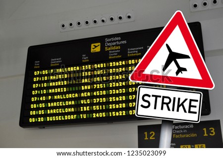 Traffic sign with pilot strike on an airport