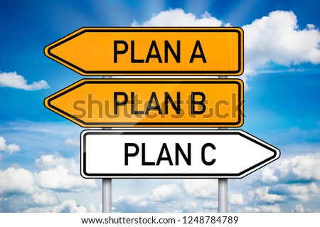 Traffic sign with plan a, plan b and plan c