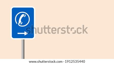Traffic signal. Direction indicator, arrow. Phone sign, communication. Transport. Vertical road cartel. Illustration, telephone symbol. Mobile telecommunications banner, call up. Foto stock ©