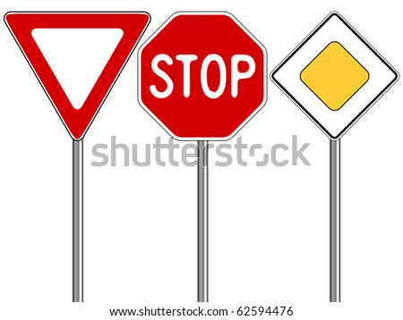 traffic signs against white background, abstract art illustration; for vector format please visit my gallery