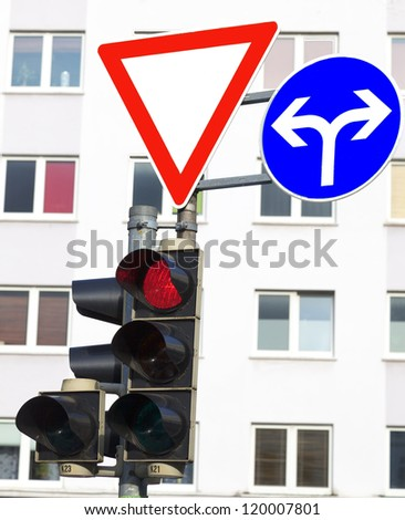 Traffic signs and traffic lights Stock foto ©