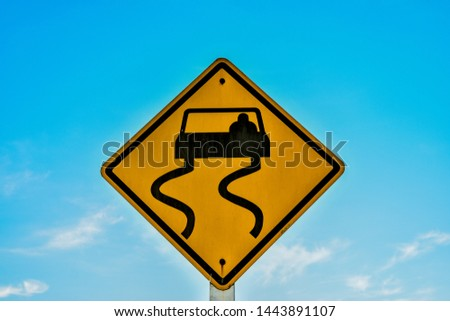 Traffic signs. Be careful of slippery roads, Traffic signs. Be careful of slippery roads from Thailand country