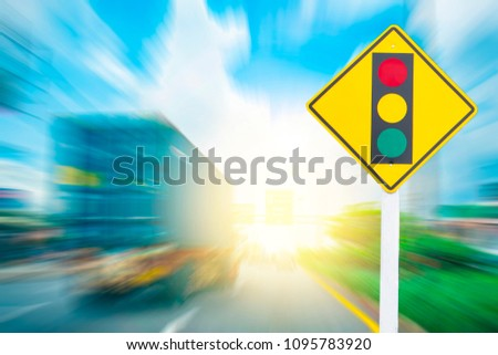 Traffic Signs Illegal speeding traffic in the capital blurred background 