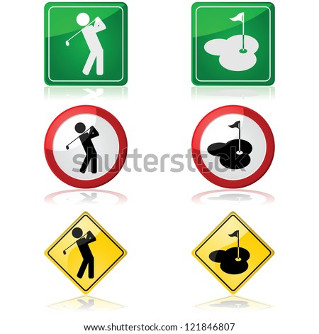 Traffic signs showing a person swinging a golf club and a hole in a golf course