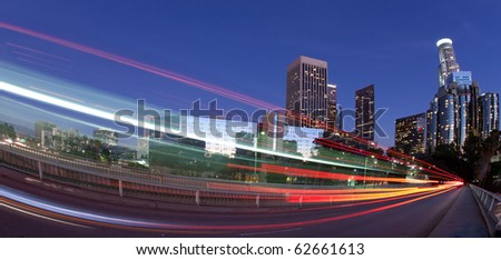 Traffic through downtown Los Angeles - stock photo