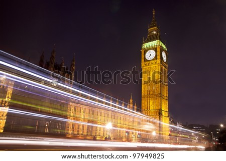 Traffic through London- long exposure with light trails of moving vehicles