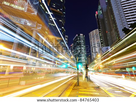 Traffic through the city at night