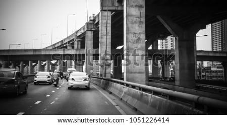 Traffic transport at Bangna road with expressway, Bangkok Thailand #1051226414