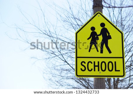Traffic Transportation Sign in crossroad school area in USA with leafless tree background and light blue sky #1324432733