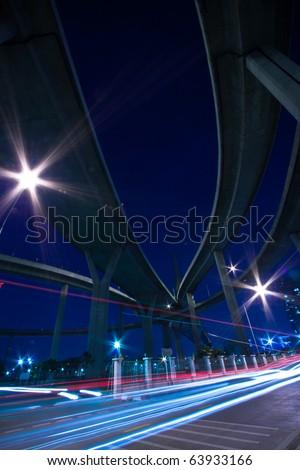 Traffic under the Bhumibol Bridge in Bangkok, Thailand.