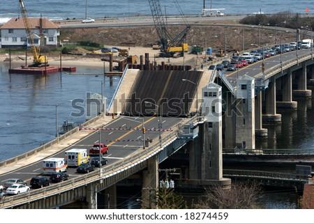 Traffic waiting by a drawbridge