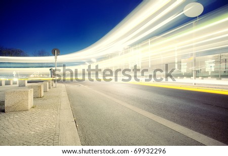 Traffic with high dynamic motion blur speed on street - stock photo