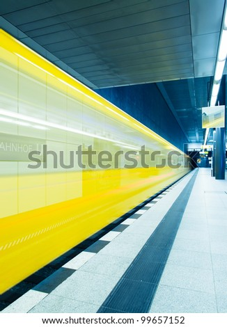 Traffic with high dynamic motion blur speed on train station