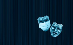 Tragedy theatrical mask no protective mask and Comedy theatrical mask wearing protection medical mask for Corona virus (Covid-19), Dark blue theater curtain in the background