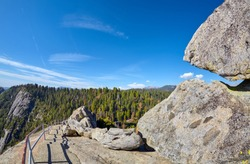 Trail and stairway to the top of Moro Rock, unique granite dome rock formation in Sequoia National Park, USA.