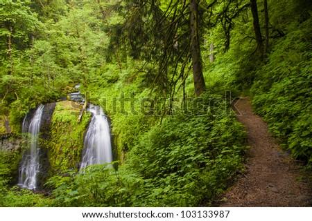 Trail by Upper Elowa Falls, waterfalls in Columbia Gorge, Oregon