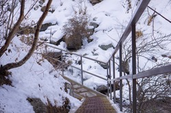 Trail in the mountains equipped for trekking and hikers