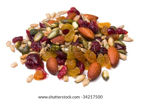 Trail mix isolated on white.