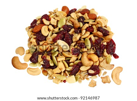 Trail Mix of dried cranberries, sunflower nuts, cashews, pumpkin seeds ...