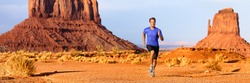 Trail runner ultra running marathon race athlete sprinting in desert. Summer training fit man sprinting across Monument Valley, cross country endurance workout in Arizona, USA. Panorama landscape.