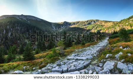 Trail through 'Kocioł Łomniczki' valley - Lower Silesia/Karkonosze/Poland Zdjęcia stock ©