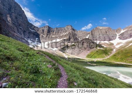 Trail to Cracker lake in Glacier national park