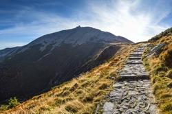 Trail to the highest peak of Lower Silesia - Sniezka Mountain in Karkonosze/Poland