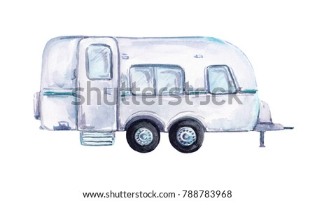 Trailer car. Travel watercolor illustration