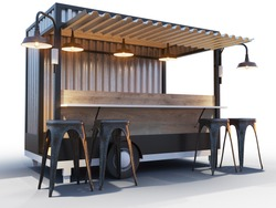 Trailer food truck Mockup, vintage hot dog market