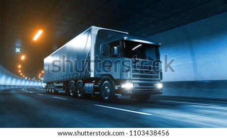 Trailer truck rides trough tunnel warm yellow light 3d rendering