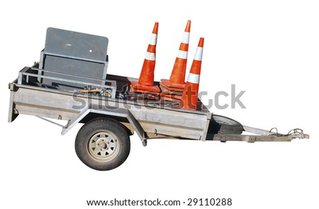 Trailer with Cones isolated with clipping path