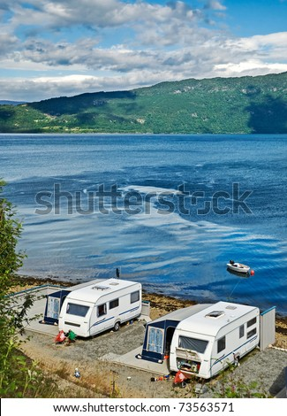Trailers on a lakeside