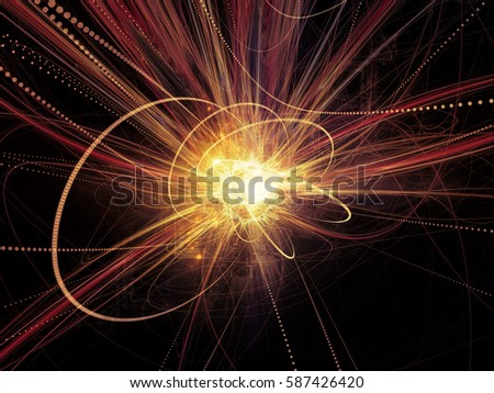 Trails of Technology series. Arrangement of particle motion lines, light and science related elements in three dimensional space on the subject of forces of progress #587426420