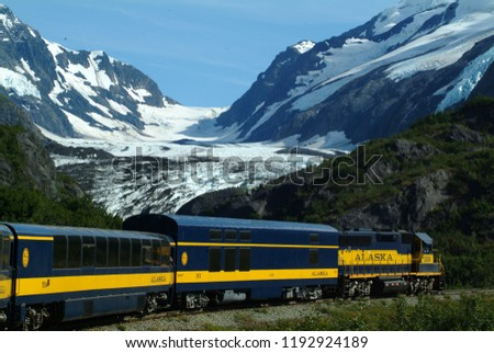 Train along mountains and glaciers