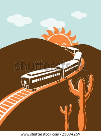 Train and mountain with cactus
