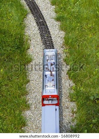 Train and railroad from the bird's eye view