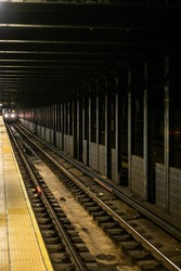 Train approaching in the subway station in Manhattan